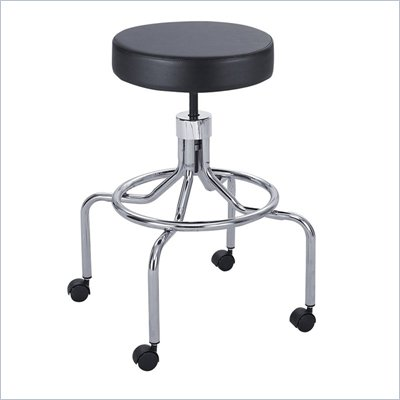 Safco Lab/Drafting Stool with High Base and Screw Lift in Black