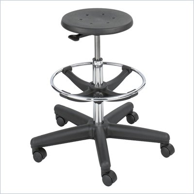 Safco Soft-Tough Workbench Height Black Drafting Stool with Footrest