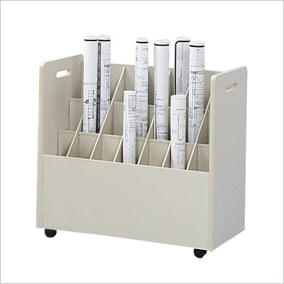 Safco 21 Compartment Mobile Wood Roll Files Organizer in Putty