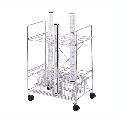 Safco Chrome Wire Roll File With 24 Compartments