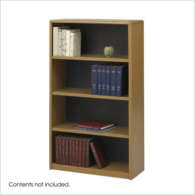Safco ValueMate Standard 4 Shelf Economy Steel Bookcase in Medium Oak