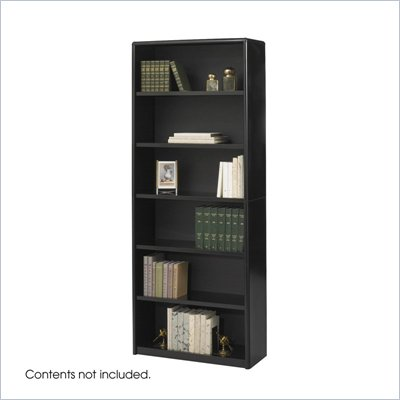 Safco ValueMate 6 Shelf Wood Economy Steel Bookcase in Black