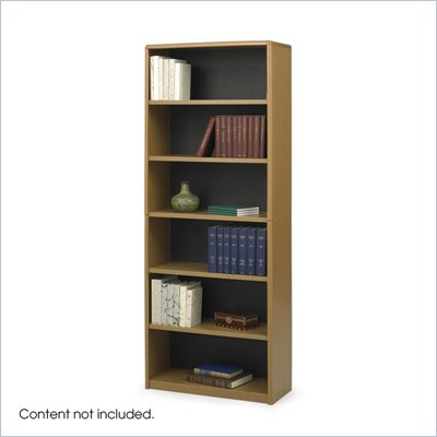 Safco 6-Shelf ValueMate Medium Oak Economy Steel Bookcase