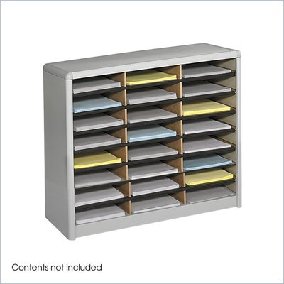 Safco Value Sorter 24 Compartment Flat Files Metal Organizer in Gray