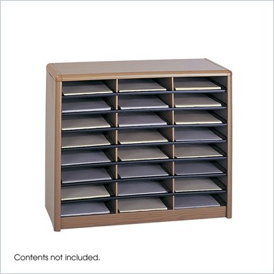 Safco Value Sorter 24 Compartment WoodFlat Files Organizer in Medium Oak 