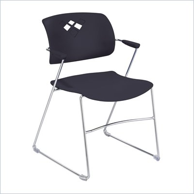 Safco Veer Stack Chair in Black (Set of 4)