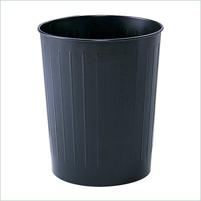 Safco 6 Gallon Round Steel Trash Can in Black (Set of 6)