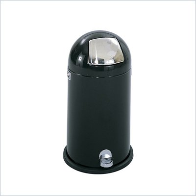 Safco Black 9 Gallon Step-On Dome Receptacle in Black