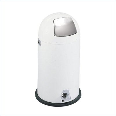 Safco White 12 Gallon Step-On Dome Receptacle