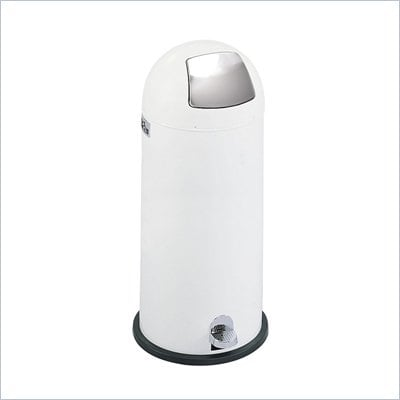 Safco White 15 Gallon Step-On Dome Receptacle in White
