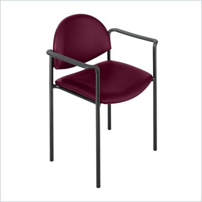 Safco Wicket Burgundy Stacking Arm Chair with Vinyl Seat