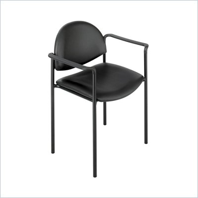 Safco Wicket Black Stacking Arm Chair with Vinyl Seat