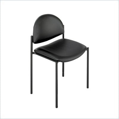 Safco Wicket Black Stacking Chair with Vinyl Seat