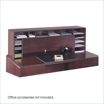 "Safco 58""W High Clearance Desk Top Organizer in Mahogany"