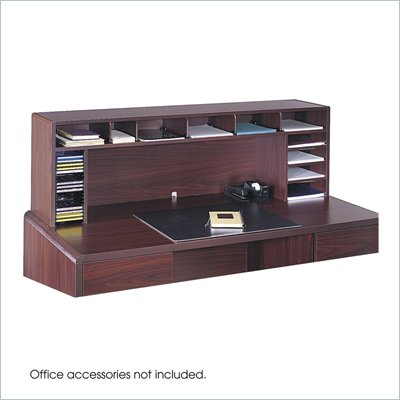 Safco 58&quot;W High Clearance Desk Top Organizer in Mahogany