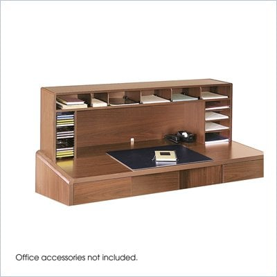 Safco 58&quot;W High Clearance Desk Top Organizer in Medium Oak