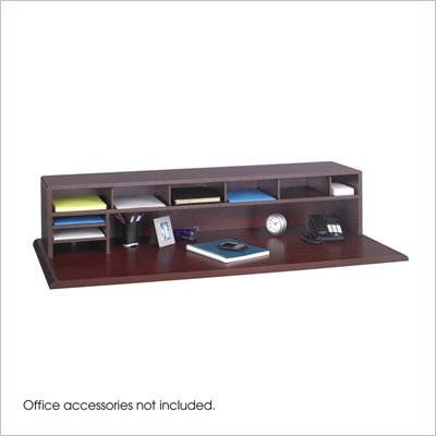 Safco 58&quot;W Low Profile Desk Top Organizer in Mahogany