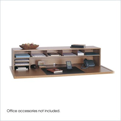 Safco 58&quot;W Low Profile Desk Top Organizer in Medium Oak