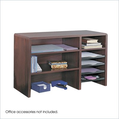 Safco 29&quot;W Compact Desk Top Organizer in Mahogany