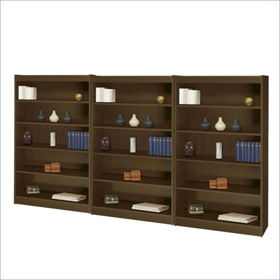 Safco WorkSpace 60&quot;H Five Shelf Square-Edge Wall Bookcase in Walnut