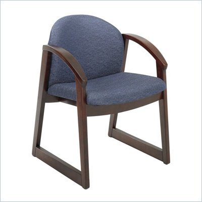 Safco Workspace Urbane Mahogany and Blue Guest Arm Chair with Sled Base