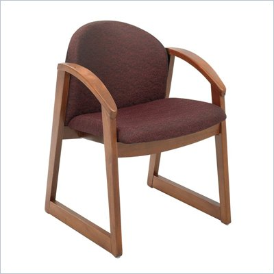 Safco Workspace Urbane Cherry and Burgundy Guest Arm Chair with Sled Base