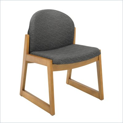 Safco Workspace Urbane Oak and Black Guest Chair with Sled Base
