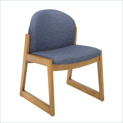 Safco Workspace Urbane Oak and Blue Guest Chair with Sled Base