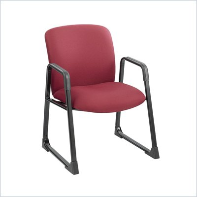 Safco Uber Big and Tall Guest Chair in Burgundy with Sled Base
