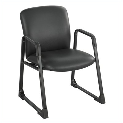 Safco Uber Big and Tall Guest Chair in Black Vinyl with Sled Base
