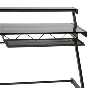 Eurostyle Landon-Zaki Desk Wide Keyboard Tray in Black and Smoked Gray