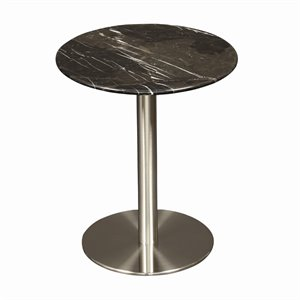 Eurostyle Tammy Round End Table in Black Marble
