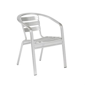 Eurostyle Sadie Stacking Arm Chair in Polished Aluminum