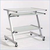 Eurostyle Zaki Wide Adjustable Computer Cart in Aluminum/Frosted Glass