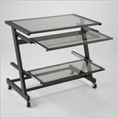Eurostyle Zaki Wide Height Adjustable Glass Computer Cart in Graphite Black/Smoked Glass