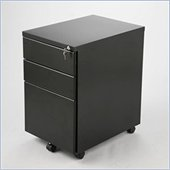 Eurostyle Gordon PPF 3 Drawer Mobile Metal Filing Cabinet in Graphite Black