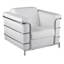 Eurostyle Leander I Armchair in White Leather and Chrome