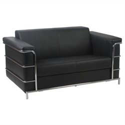 Eurostyle Leander II Leather Loveseat in Black and Chrome