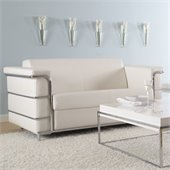 Eurostyle Leander II Loveseat in White Leather and Chrome