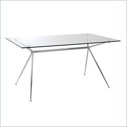 Eurostyle Adolfo Casual Steel Dining Table with Glass Top