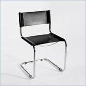 Eurostyle Shauna Leather Seat Dining Side Chair in Black and Chrome