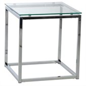 Eurostyle Sandor Side Table in Clear Glass/Chrome