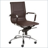 Eurostyle Owen Low Back Office Chair in Brown/Chrome