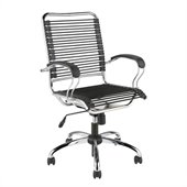 Eurostyle Bungie Flat J-Arm Chair in Black/Chrome