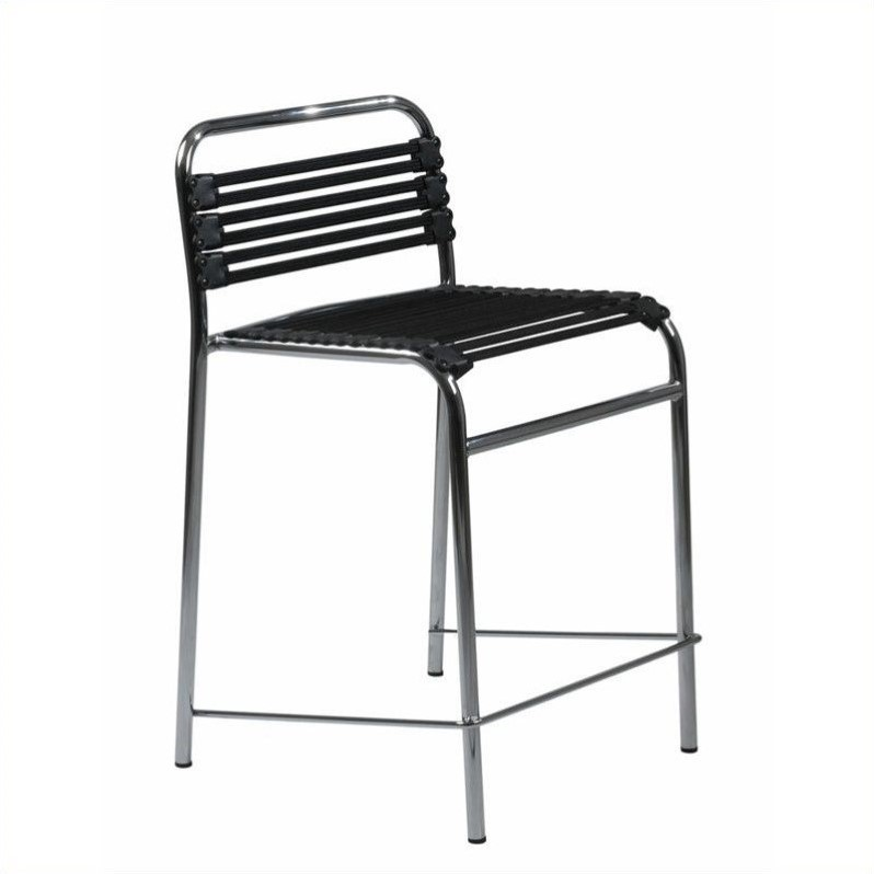 24 Flat Bungie Counter Stool In Black And Chrome