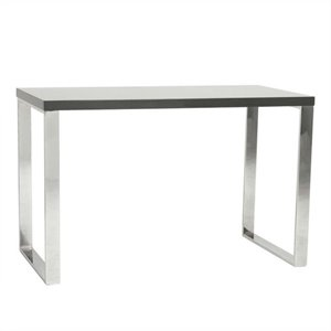 Eurostyle Dillon Desk in Gray Lacquer / Polished Stainless Steel