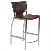 Eurostyle Vinnie-C Counter Chair in Brown Leather/Chrome