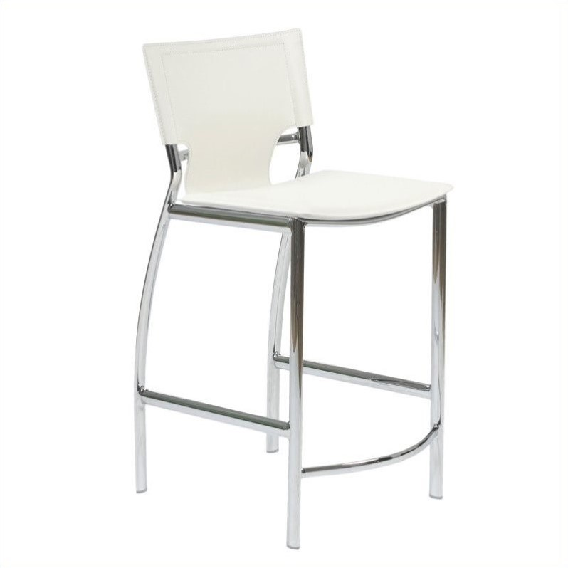 24 Counter Stool In White Leather And Chrome