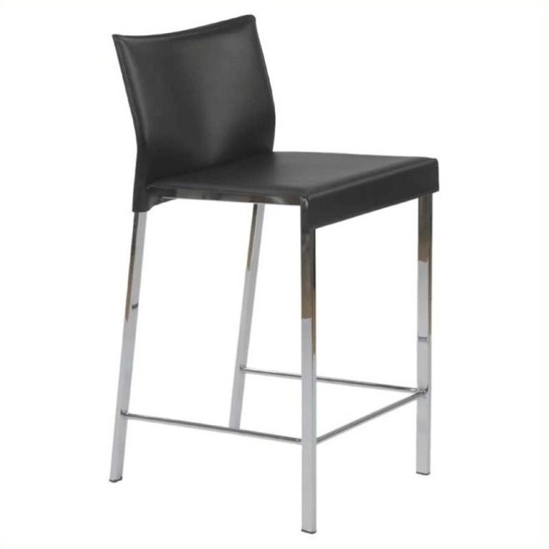 24 Counter Stool In Black Leather And Chrome