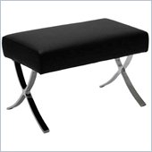 Eurostyle Pietro Leather Ottoman Chair in Black/Chrome